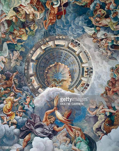 Jupiter striking the Giants with lightning 153235 detail of the fresco on the dome of the Hall of Giants by Giulio Pippi known as Giulio Romano...