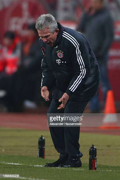 Jupp Henyckes head coach of Muenchen reacts during the Bundesliga match between 1 FC Nuernberg and FC Bayern Muenchen at Easy Credit Stadium on...