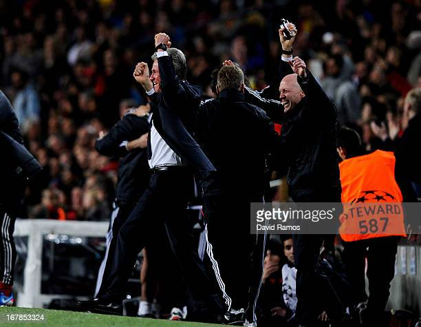 Jupp Heyncke s the Munich head coach and staff celebrate after Arjen Robben of Munich scores the opening goal during the UEFA Champions League semi...
