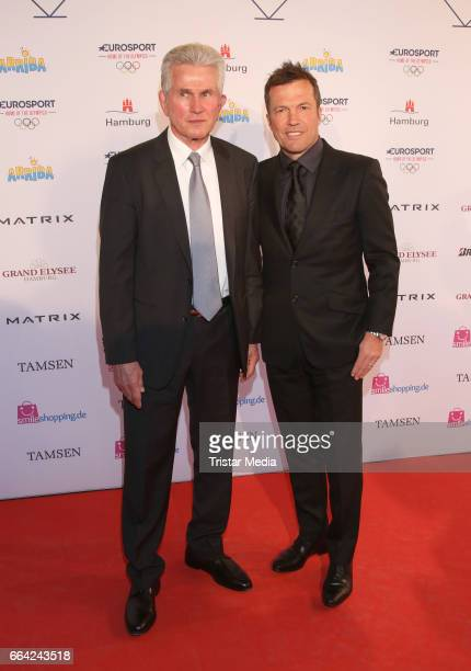 Jupp Heynckes and Lothar Matthaeus attend the German Sports Journalism Award 2017 at Grand Elysee Hotel on April 03 2017 in Hamburg Germany