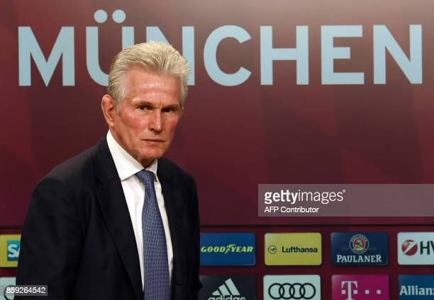 Jupp Heynckes arrives for a press conference as he takes over as new head coach of German first division club Bayern Munich on October 9 2017 in...
