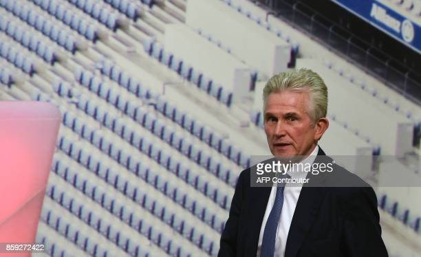 Jupp Heynckes arrives to give a press conference as he takes over as new head coach of German first division club Bayern Munich on October 9 2017 in...