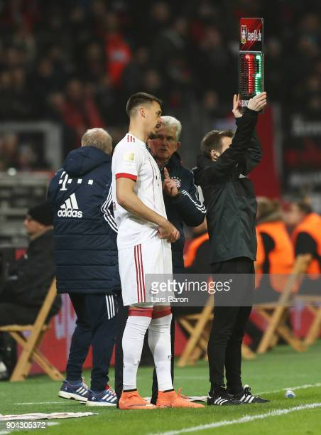 Jupp Heynckes coach of Bayern Muenchen in discussion with substitute Sandro Wagner of Bayern Muenchen during the Bundesliga match between Bayer 04...