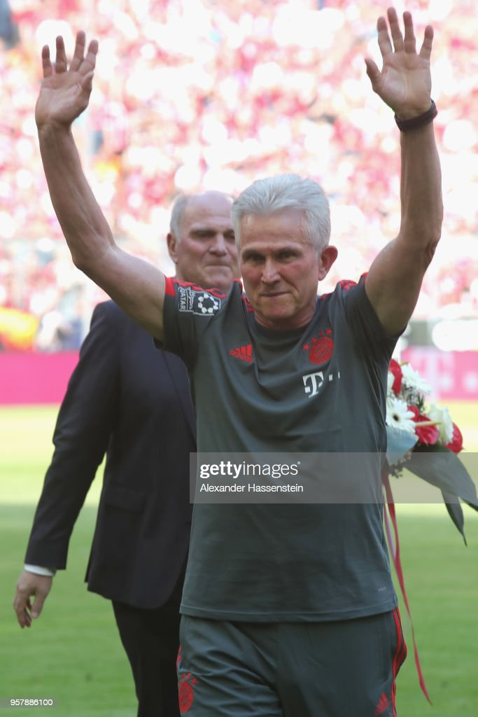 Jupp Heynckes, coach of Bayern Muenchen shows appreciation to the fans prior to his final game during the Bundesliga match between FC Bayern Muenchen and VfB Stuttgart at Allianz Arena on May 12, 2018 in Munich, Germany.