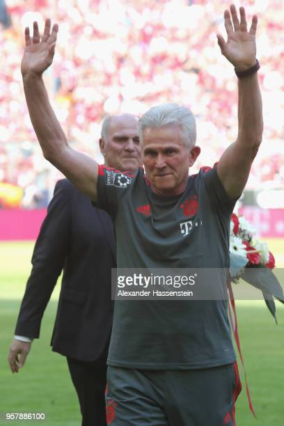 Jupp Heynckes coach of Bayern Muenchen shows appreciation to the fans prior to his final game during the Bundesliga match between FC Bayern Muenchen...