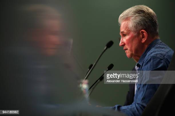 Jupp Heynckes coach of Bayern Muenchen speaks to the press during the Bayern Muenchen Press Conference at Allianz Arena on April 10 2018 in Munich...
