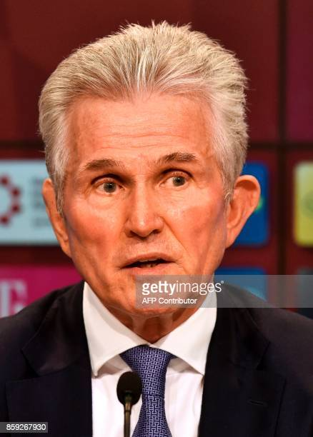 Jupp Heynckes gives a press conference as he takes over as new head coach of German first division club Bayern Munich on October 9 2017 in Munich...
