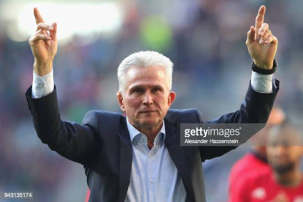Jupp Heynckes head coach of Bayern Muechen celebrates in front of their supporters after the Bundesliga match between FC Augsburg and FC Bayern...