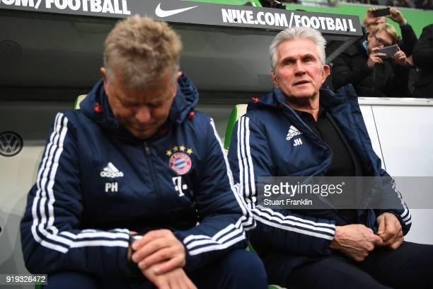Jupp Heynckes head coach of Bayern Muechen looks on before the Bundesliga match between VfL Wolfsburg and FC Bayern Muenchen at Volkswagen Arena on...