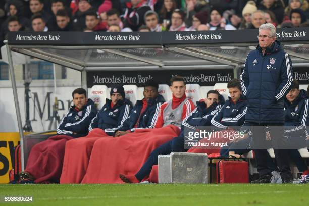 Jupp Heynckes head coach of Bayern Muechen stands on the sideline during the Bundesliga match between VfB Stuttgart and FC Bayern Muenchen at...