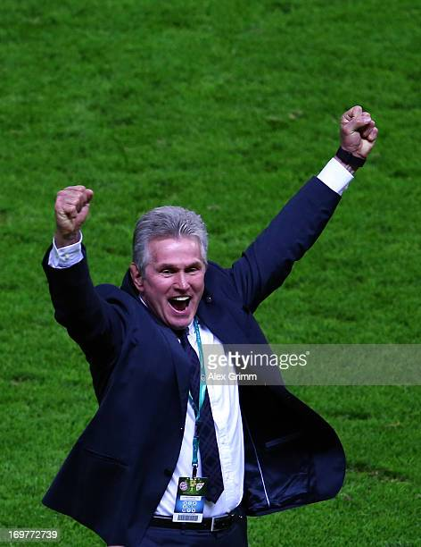 Jupp Heynckes head coach of Bayern Muenchen celebrates victory in his last match after the DFB Cup Final match between FC Bayern Muenchen and VfB...