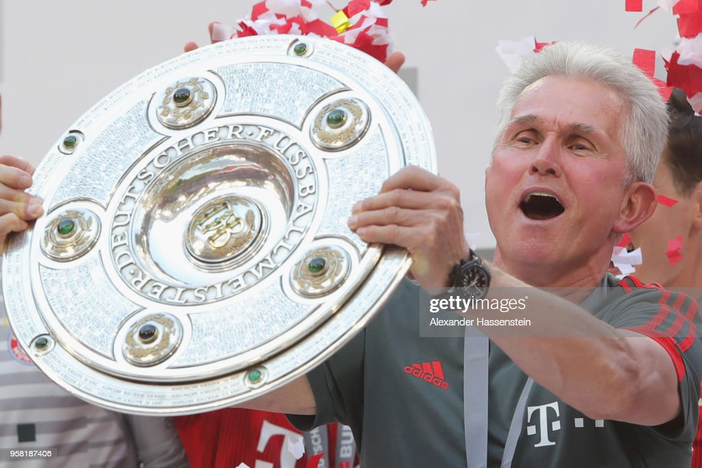 Jupp Heynckes, head coach of Bayern Muenchen lifts the trophy in Celebration for winning the German Championship title after the Bundesliga match between FC Bayern Muenchen and VfB Stuttgart at Allianz Arena on May 12, 2018 in Munich, Germany.