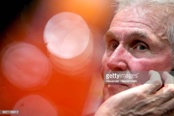 Jupp Heynckes head coach of Bayern Muenchen looks on during a press conference after the UEFA Champions League Round of 16 Second Leg match Besiktas...