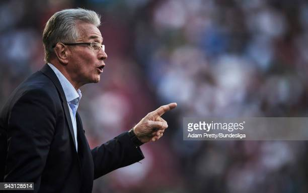 Jupp Heynckes head coach of Bayern Munich in action during the Bundesliga match between FC Augsburg and FC Bayern Muenchen at WWKArena on April 7...