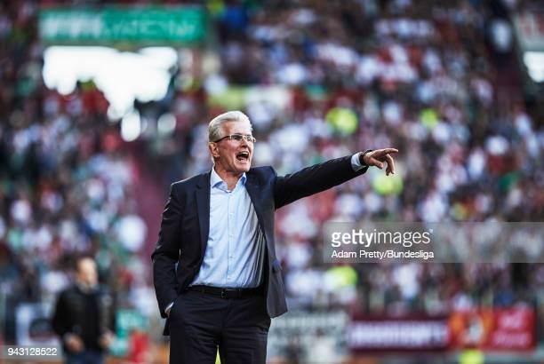 Jupp Heynckes head coach of Bayern Munich in action during the Bundesliga match between FC Augsburg and FC Bayern Muenchen at WWK-Arena on April 7,...