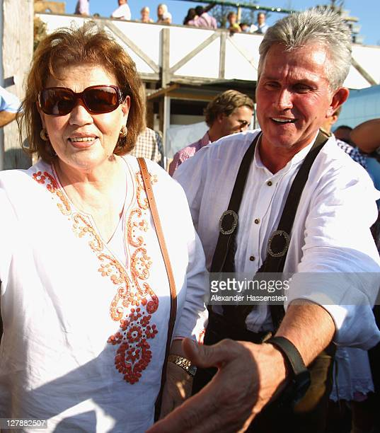 Jupp Heynckes head coach of FC Bayern Muenchen attends with his wife Iris Heynckes the Oktoberfest beer festival at the Kaefer Wiesnschaenke tent on...