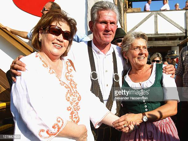 Jupp Heynckes head coach of FC Bayern Muenchen attends with his wife Iris Heynckes and Susanne Hoeness the Oktoberfest beer festival at the Kaefer...