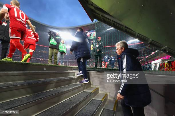 Jupp Heynckes head coach of FC Bayern Muenchen enters the field for the Bundesliga match between FC Bayern Muenchen and FC Augsburg at Allianz Arena...