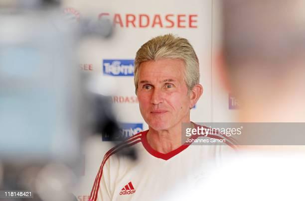 Jupp Heynckes head coach of German footballclub FC Bayern Muenchen addresses the media after a training session at Arco training ground on July 4...