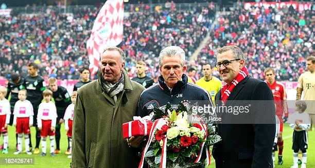 Jupp Heynckes head coach of Muenchen looks on before the Bundesliga match between Bayern Muenchen and Werder Bremen at Allianz Arena on February 23...