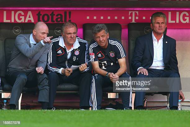 Jupp Heynckes head coach of Muenchen looks on with Matthias Sammer sporting director of Bayern Muenchen during the Bundesliga match between FC Bayern...