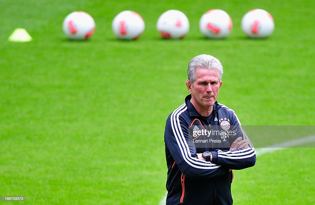 Jupp Heynckes, head coach of Muenchen walks over the pitch in a training session during the UEFA Champions League Finalist Media Day at Allianz Arena on May 14, 2013 in Munich, Germany.