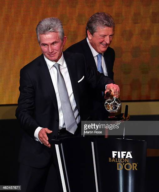 Jupp Heynckes of Germany receives the FIFA coach of the year trophy during the FIFA Ballon d'Or Gala 2013 at the Kongresshalle on January 13 2014 in...