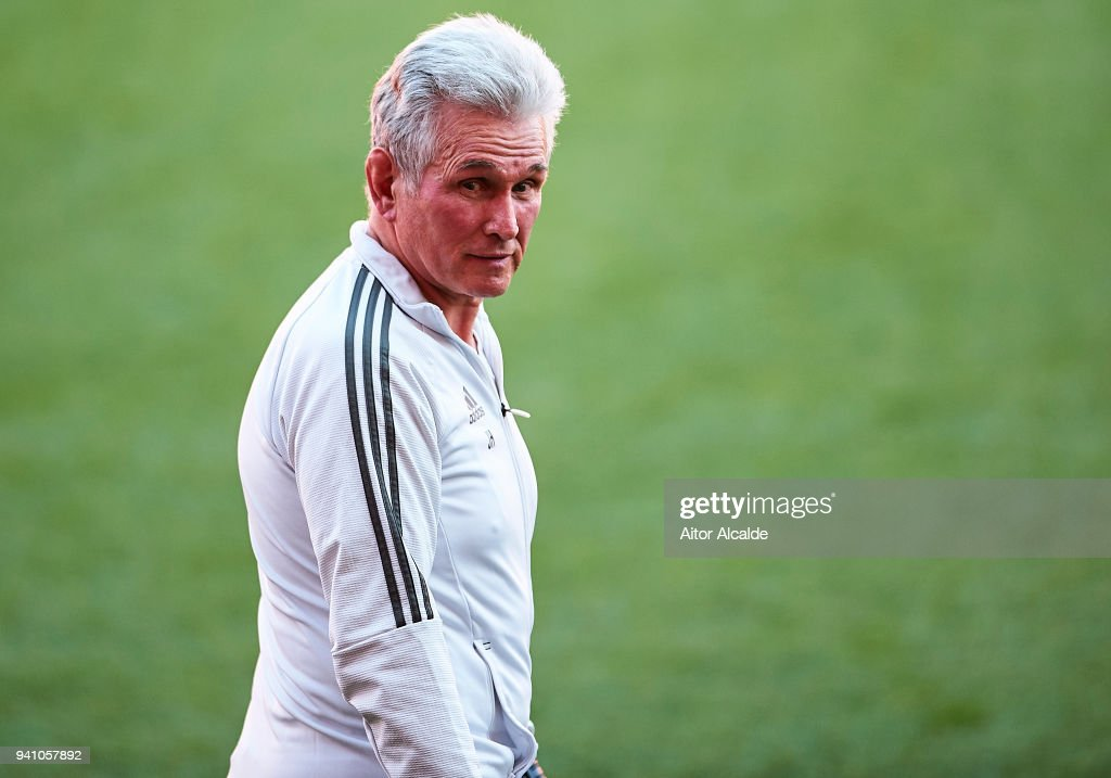 Jupp Heynckes of Muenchen looks on during the Press Conference prior to their UEFA Champions League match against Sevilla FC at t Estadio Ramon Sanchez Pizjuan on April 2, 2018 in Seville, Spain.