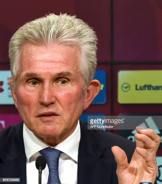 Jupp Heynckes speaks during a press conference as he takes over as new head coach of German first division club Bayern Munich on October 9 2017 in...