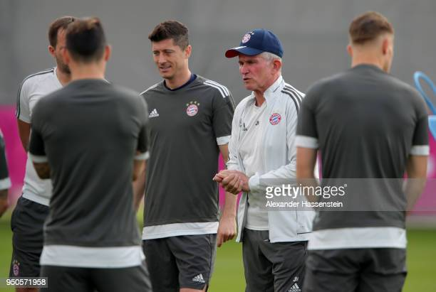 Jupp Heynckes the Head Coach of Bayern Muenchen talking to his players during a Bayern Muenchen training session ahead of the UEFA Champions League...