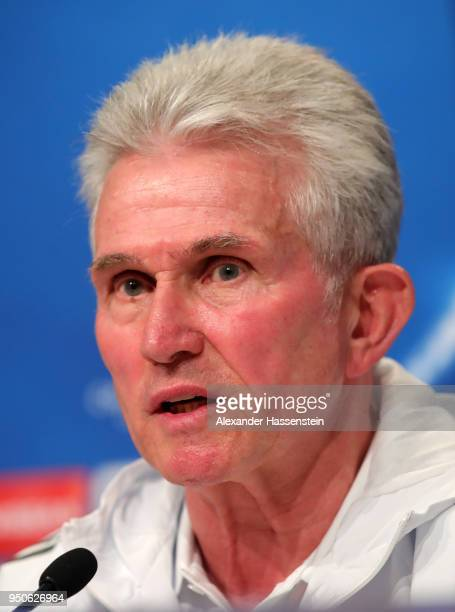 Jupp Heynckes the Head Coach of Bayern Muenchen talking to the media during a Bayern Muenchen press conference ahead of the UEFA Champions League 1st...