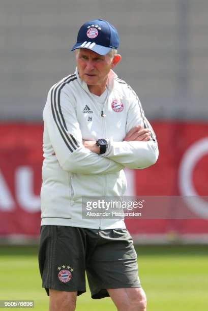 Jupp Heynckes the Head Coach of Bayern Muenchen watches his players during a Bayern Muenchen training session ahead of the UEFA Champions League 1st...