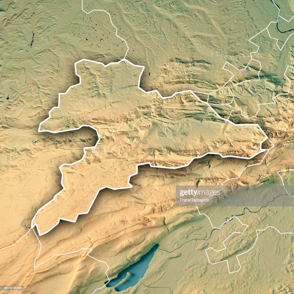 Jura Canton Switzerland 3d Render Topographic Map Border Stock Photo