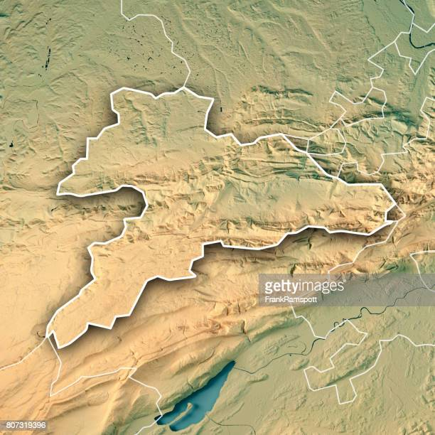 Jura Canton Switzerland 3D Render Topographic Map Border