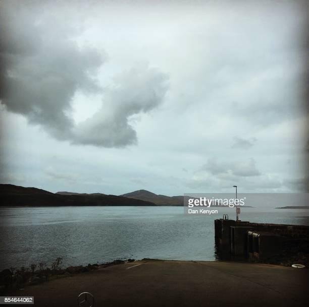 Jura ferry terminal. Heart in clouds. Scotland.