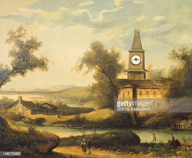 Jura landscape with a church steeple and clock mechanism, by an unknown French painter, 19th century. ; Besançon, Musée Du Temps .