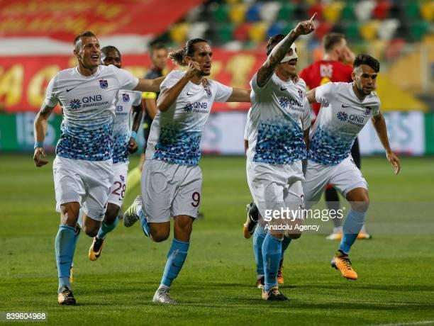 Jurac Kucka of Trabzonspor celebrates after scoring a goal during the Turkish Super Lig soccer match between Goztepe and Trabzonspor at the Bornova...