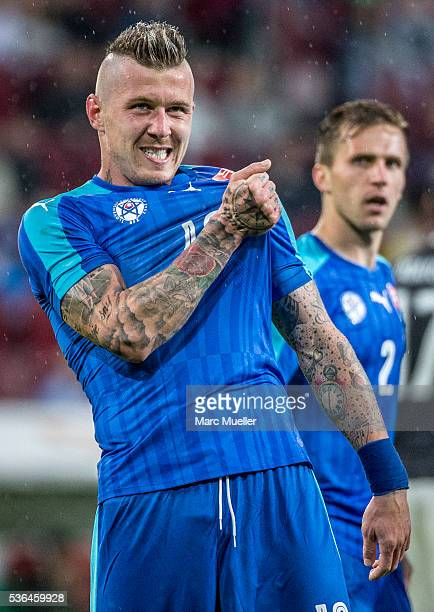 Juraj Kucka celebrate after scoring a goal to 13 against Germany during the international friendly match between Germany and Slovakia at WWKArena on...