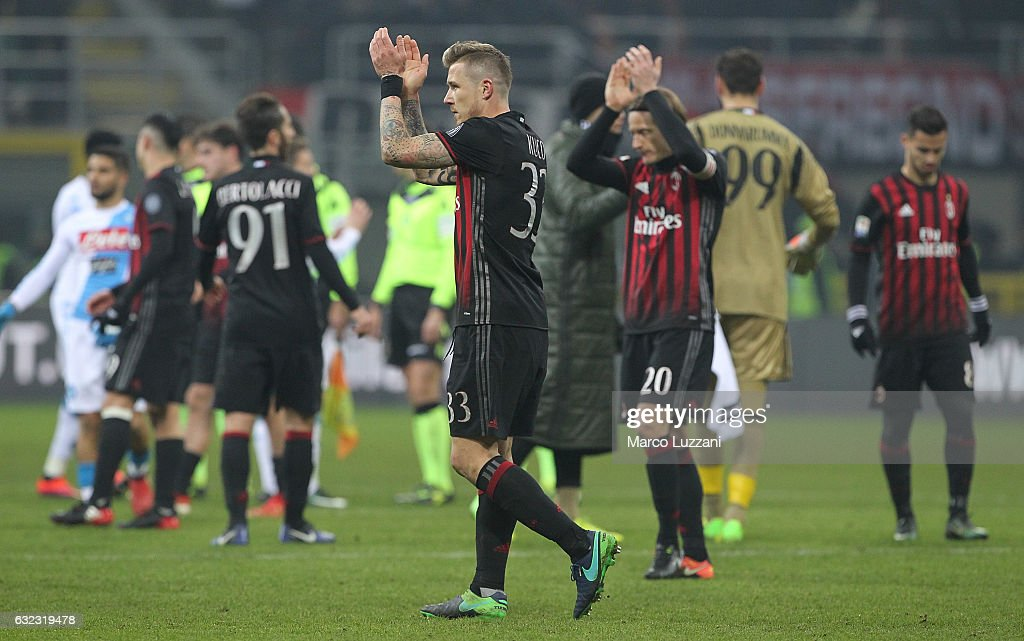 Juraj Kucka of AC Milan salutes the fans at the end of the Serie A match between AC Milan and SSC Napoli at Stadio Giuseppe Meazza on January 21, 2017 in Milan, Italy.