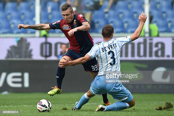 Juraj Kucka of Genoa CFC turns Stefan de Vrij of SS Lazio during the Serie A match between Genoa CFC and SS Lazio at Stadio Stadio Luigi Ferraris di...