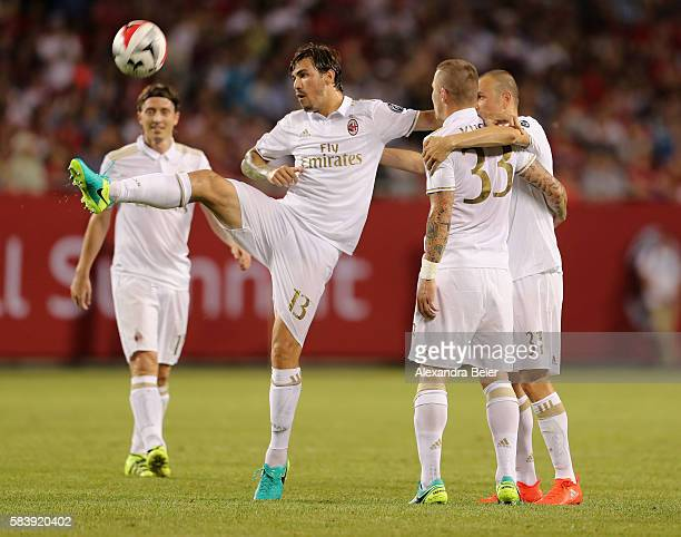 Juraj Kucka of Milan celebrates his goal together with teammates Riccardo Montolivo Alessio Romagnoli and Luca Antonelli during the International...