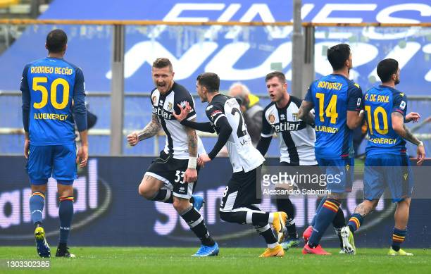 Juraj Kucka of Parma Calcio 1913 celebrates with team mate Valentin Mihaila after scoring their side's second goal from the penalty spot during the...
