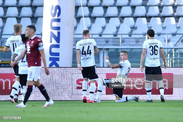 Juraj Kucka of Parma Calcio celebrates a goal during the Serie A match between Torino FC and Parma Calcio at Stadio Olimpico di Torino on February 23...