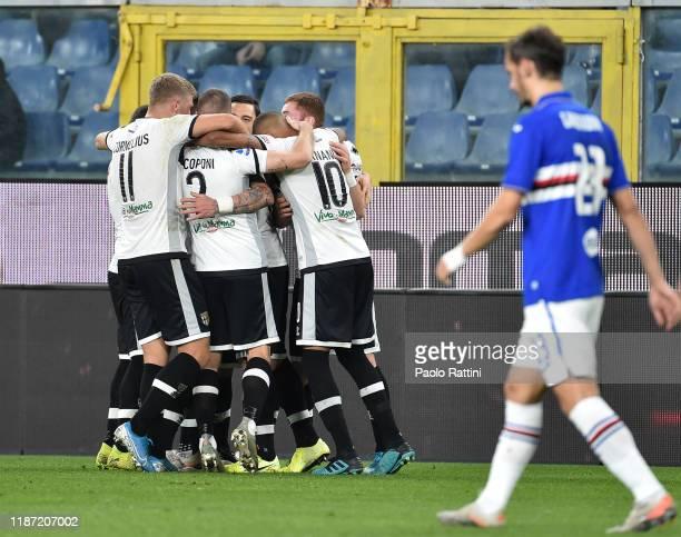 Juraj Kucka of Parma Calcio celebrates with teammates after scoring his a team's first goal during the Serie A match between UC Sampdoria and Parma...