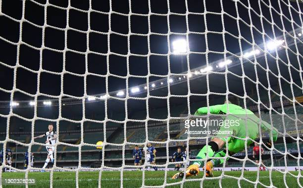 Juraj Kucka of Parma Calcio scores their team's first goal from the penalty spot during the Serie A match between Hellas Verona FC and Parma Calcio...