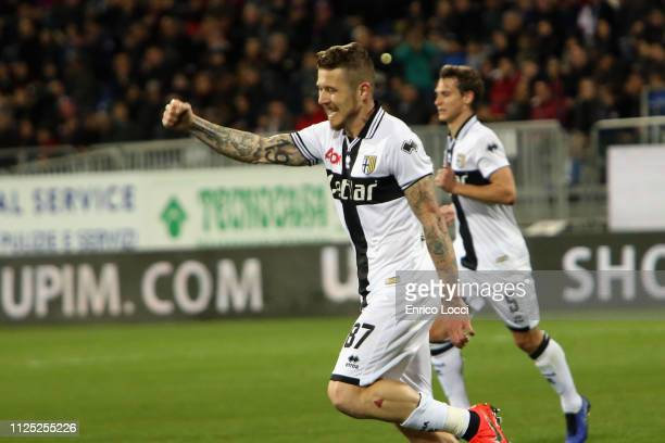 Juraj Kucka of Parma celebrates his goal 01 during the Serie A match between Cagliari and Parma Calcio at Sardegna Arena on February 16 2019 in...