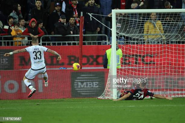 Juraj Kucka of Parma celebrates his goal 11 during the Serie A match between Cagliari Calcio and Parma Calcio at Sardegna Arena on February 1 2020 in...