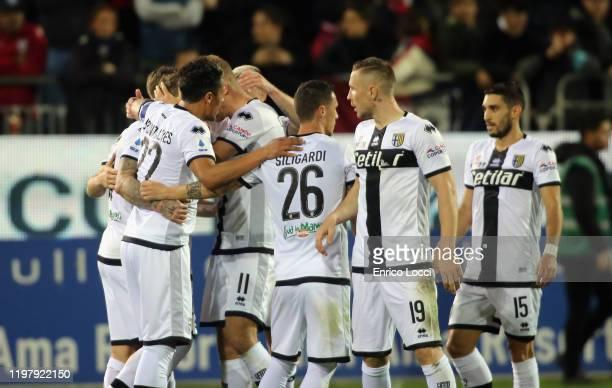 Juraj Kucka of Parma celebrates his goal of 11 during the Serie A match between Cagliari Calcio and Parma Calcio at Sardegna Arena on February 1 2020...