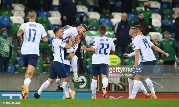 Juraj Kucka of Slovakia celebrates after scoring his team's first goal with his team during the UEFA EURO 2020 PlayOff Final between Northern Ireland...