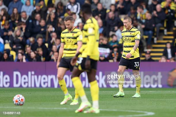 Juraj Kucka of Watford FC looks dejected after conceding a fourth goal during the Premier League match between Watford and Liverpool at Vicarage Road...